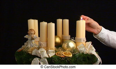 fourth advent part I - advent wreath being lit part I