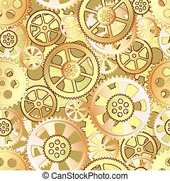 gears seamless - yellow gears on a brown background,...
