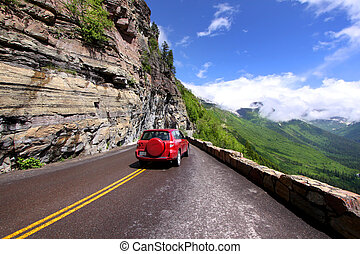 Going to the sun road - Drive on scenic Going to the sun...