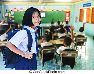 Cute girl student in classroom