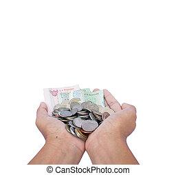 soldi, presa, isolare, fondo, mano