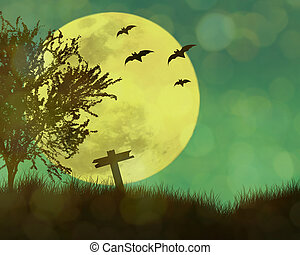 Halloween concept,moon in the night