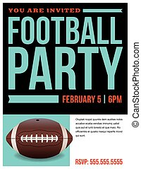 American Football Party Flyer Invitation Illustration - A...