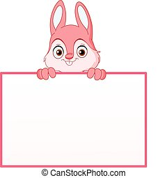 Bunny with sign - Pink bunny holding an empty sign