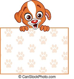 Puppy with sign - Cute puppy holding a footprint pattern...