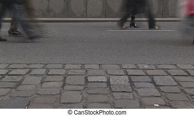 timelapse legs walking fast