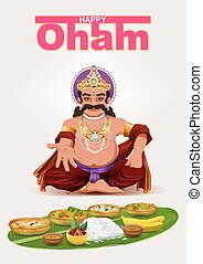 Happy Onam festival in Kerala. God King Mahabali. Template...