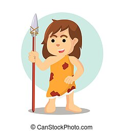 cave woman holding spear stone