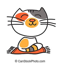 nice happy cat - Stylized three-colored happy nice cat...