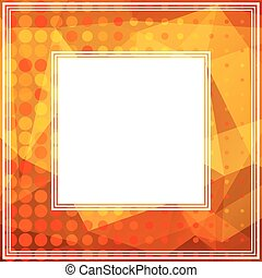 golden orange border - Polygonal abstract border with orange...