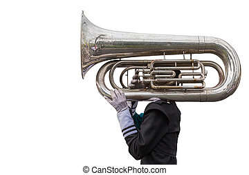A man playing a Euphonium isolated on white. Saved with...