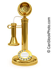 Golden retro-styled telephone on white background. High...