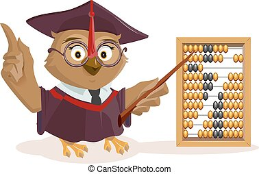 Owl teacher and abacus Isolated on white vector illustration...