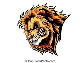 Angry Lion Head - cartoon Lion who was very angry, staring...