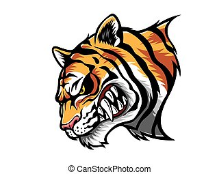 Angry Tiger Head - cartoon tiger who was very angry, staring...