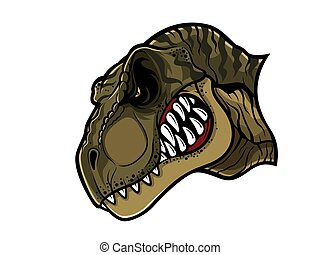 Angry T-Rex Head - cartoon t-rex who was very angry, staring...