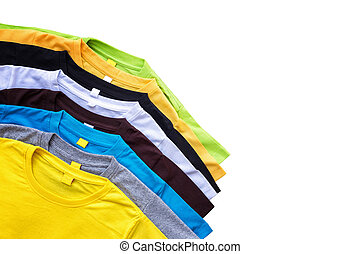 Top view of color T-Shirt isolated on white. Saved with...