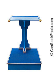 Blue wooden podium stand isolated on white. Saved with...