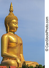 Golden buddha statue in Angthong province in Thailand - Big...