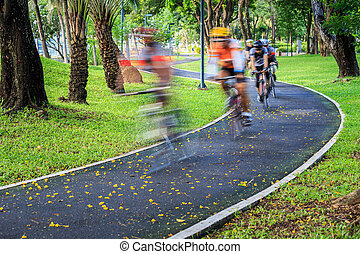 Cyclist at speed on bicycle road in the park - Cyclist at...