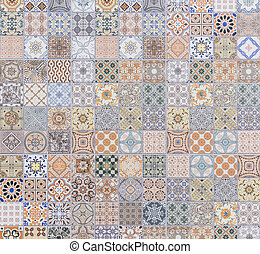 Pattern of vintage style wall tile texture and background