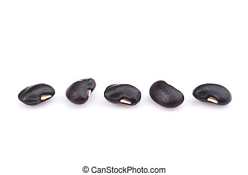 Close up black beans isolated on white background