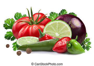 Ingredients for salsa roja sauce, clipping paths - Lime,...