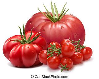 Heirloom ribbed tomatoes, three cultivars, paths - Heirloom...