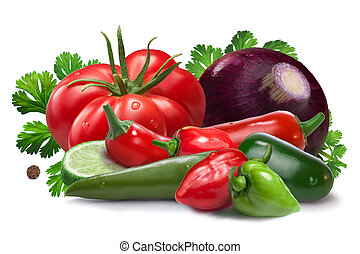 Ingredients for salsa cruda sauce, clipping paths - Onion,...