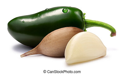 Garlic cloves with Jalapeno - hot sauce ingredients, paths -...