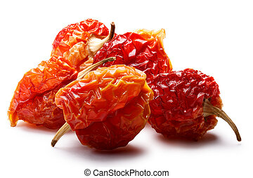 Dried habaneros, clipping paths - Dried Habanero peppers...