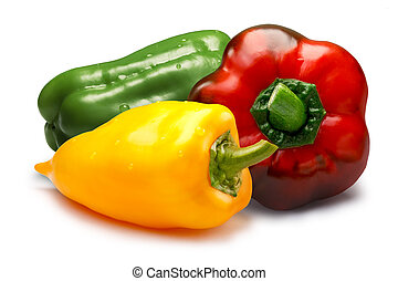 Red, green and yellow sweet bell peppers, paths - Mix of...