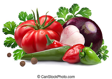 Ingredients for salsa roja sauce, clipping paths - Garlic,...