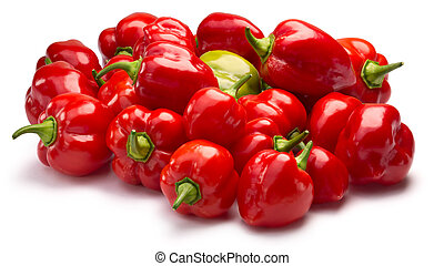 Pile of Habaneros, clipping paths - Pile of ripe Habanero...