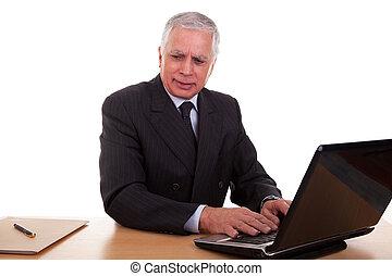 trabajando, tiro, aislado, Plano de fondo, computadora, Maduro, hombre de negocios, estudio, blanco