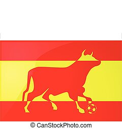 Bull Spanish soccer 2 - Illustration of a yellow and red...