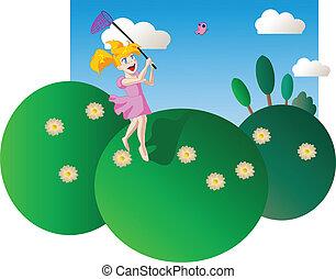 Happy little girl chasing butterfli