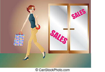 Fashionable girl shopping - Fashionable girl spotting a...