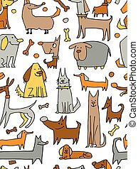 Funny dogs collection, seamless pattern for your design....