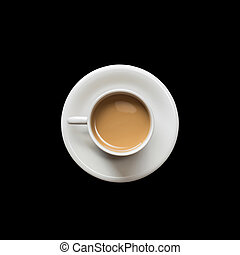 Top view coffee cup isolated on black. Saved with clipping path