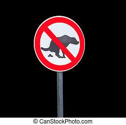 No dog shit sign isolated on white background - Round no dog...