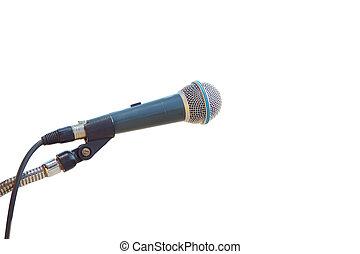 cierre, Arriba, viejo, micrófono, aislado, en, blanco,...