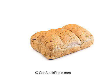 Brown taro bread isolated on white background