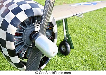 Detailed scale war bird engine with propeller and plane with...