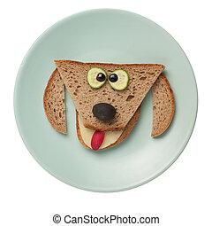 placa,  bread, hecho, perro, divertido