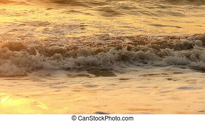 sea at morning time - close-up sea waves at morning time