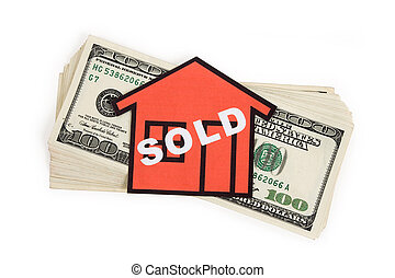 Real Estate Concept - a red home sign and dollar sign, Real...