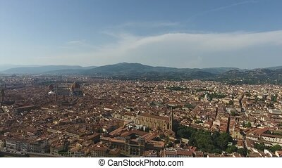 Aerial view Beautiful Cityscape of Florence with the Cathedral Santa Maria del Fiore, Florence, Tuscany, Italy.