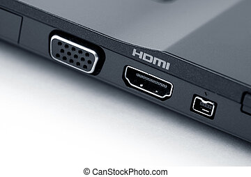 HDMI - Laptop HDMI Connection close up shot