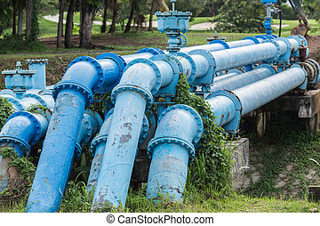Big blue color main pipe for water supply - Old big blue...